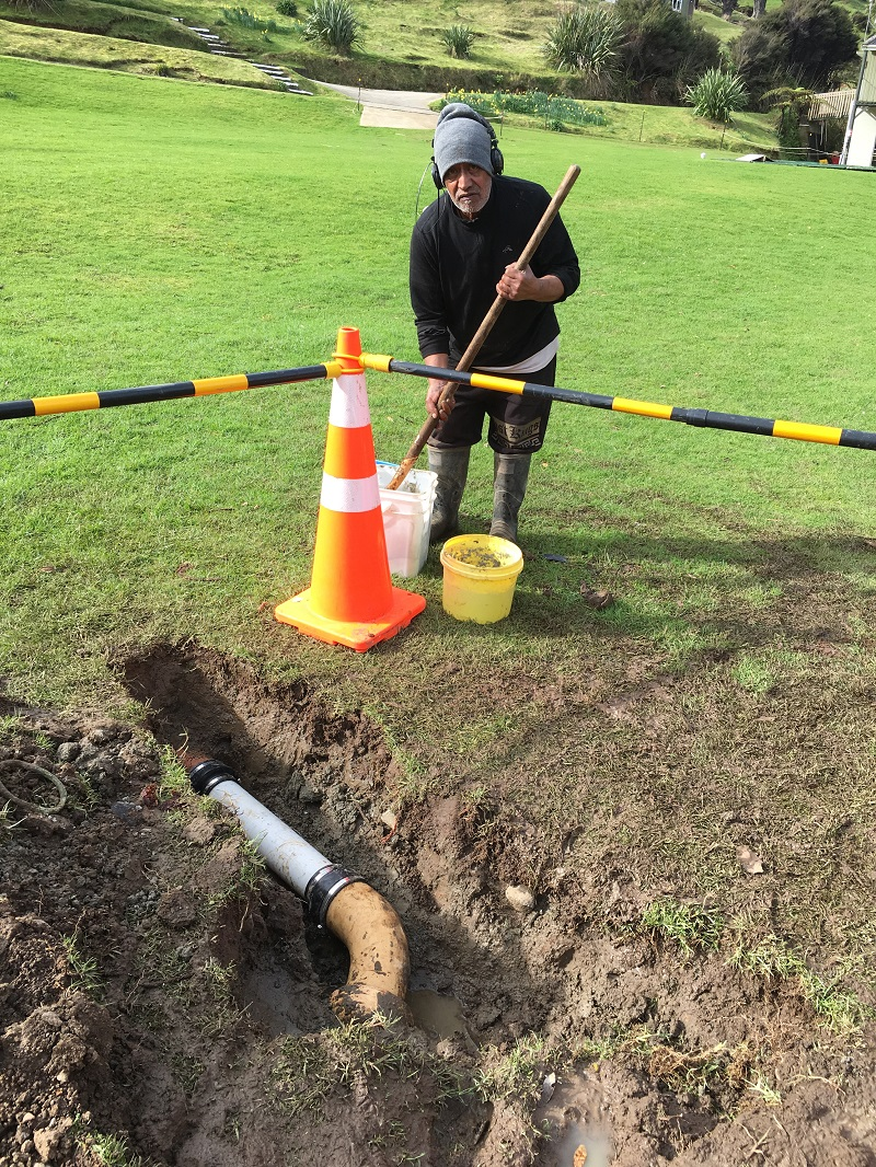 Arnie fixes a storm water drain